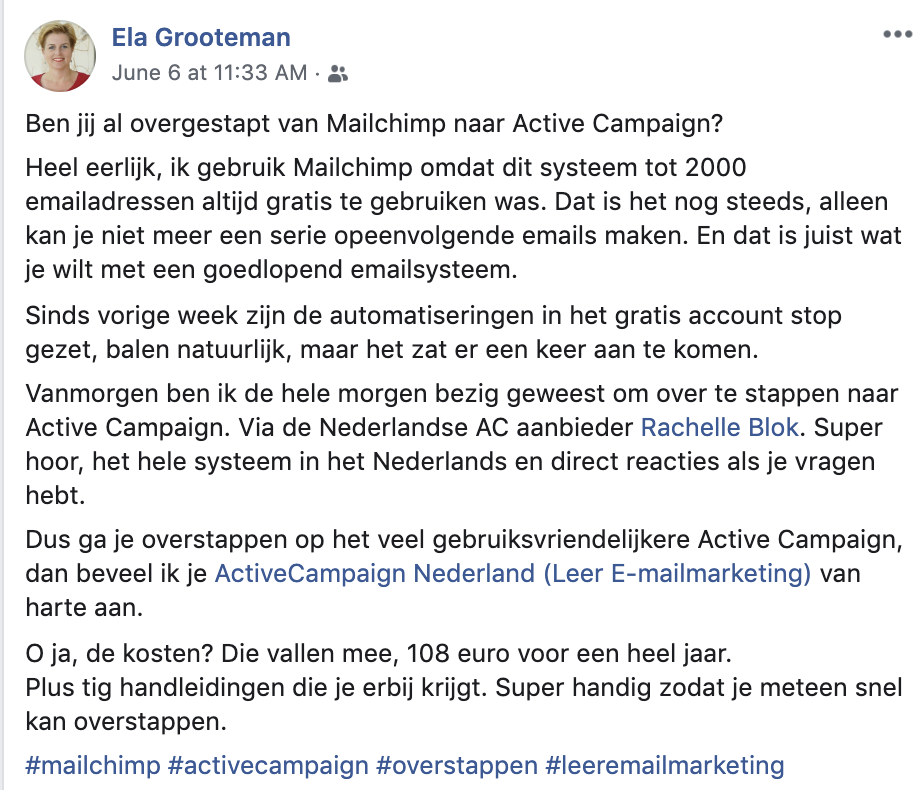Ela Grooteman - Review ActiveCampaign Nederland