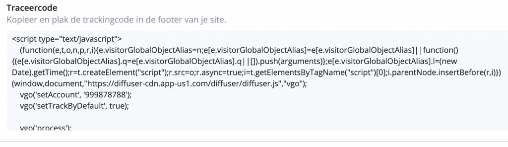 Site Tracking ActiveCampaign Traceercode