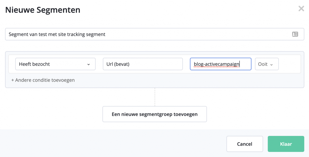 Site Tracking ActiveCampaign URL Ooit