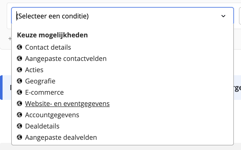 Site Tracking ActiveCampaign Website event gegevens